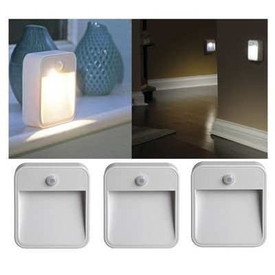 MB723 Battery-Powered Motion-Sensing LED Stick-Anywhere Nightlight 3-Pack
