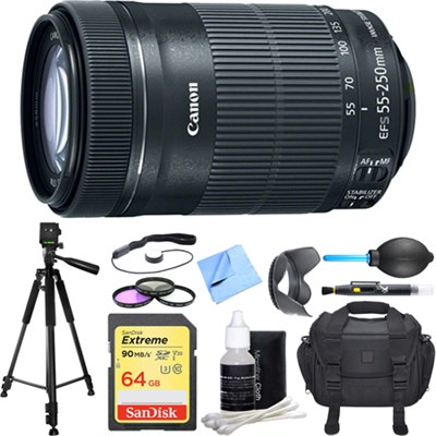 EF-S 55-250mm f/4-5.6 IS STM Lens (8546B002) Deluxe Accessory Bundle