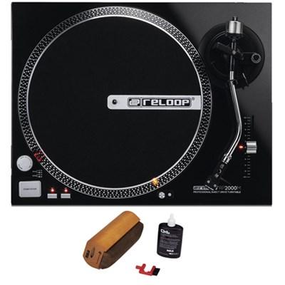 Quartz Driven DJ Turntable (Metallic Black) + Record Cleaning System