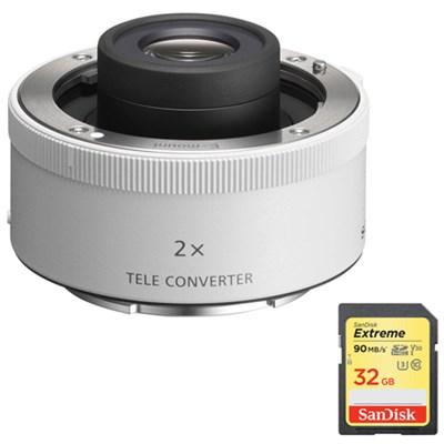 SEL20TC FE 2.0X Teleconverter Lens w/ 32GB Extreme SDXC UHS-I Memory Card