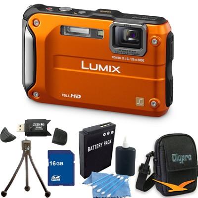 Lumix DMC-TS3 Orange Shockproof Freezeproof Dustrpoof Camera 16GB Bundle