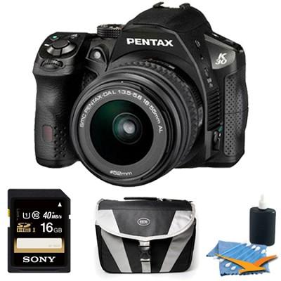 K-30 Black w /18-55mm Lens 16MP Rugged Weatherproof DSLR Camera 16GB Bundle