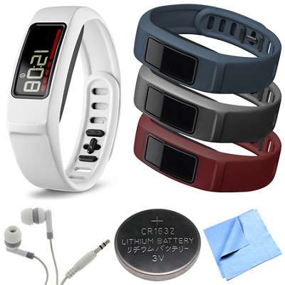 Vivofit 2 Bluetooth Fitness Band (White)(010-01503-01)Burgundy/Slate/Navy Bundle