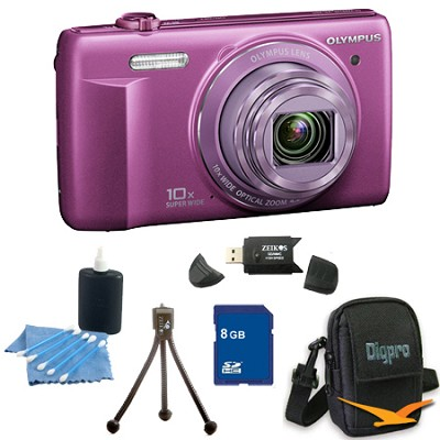 8 GB Kit VR-340 16MP 10x Opt Zoom 3-inch LCD Digital Camera - Purple