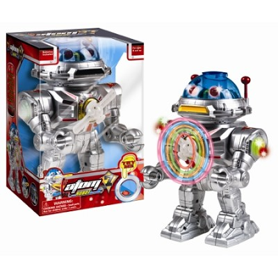 Atom 7 Robot - Walks, Talks, Shoots Discs, Light-Up Spinner