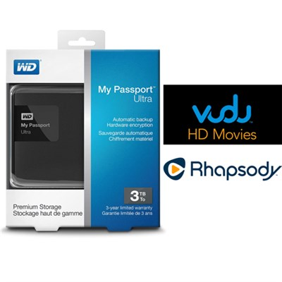 My Passport Ultra 3 TB Portable External HD Black + $30 Vudu & 3 Months Rhapsody