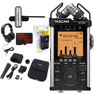 Portable Recorder with XLR and Wi-fi DR-44WL w/ 32GB Deluxe Studio Bundle