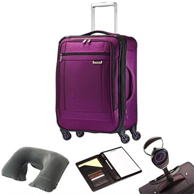 SoLyte 25` Expandable Spinner Upright Suitcase Purple 73851-4895 w/ Travel Kit