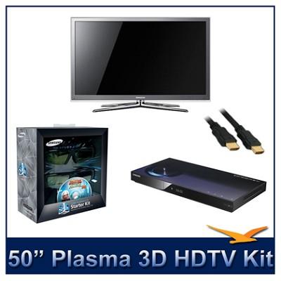 PN50C8000 - 50` 3D 1080p Plasma HDTV Kit w/ 3D Glasses & Blu-Ray Player