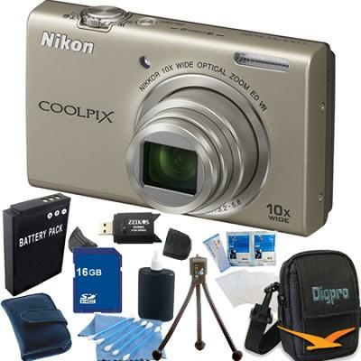 COOLPIX S6200 Silver 10x Zoom 16MP Camera 16GB Bundle