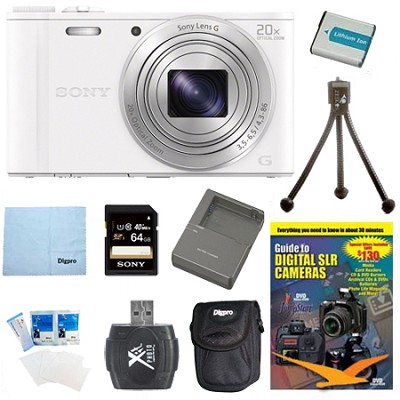 Cyber-shot DSC-WX350 Digital Camera White 64GB Kit