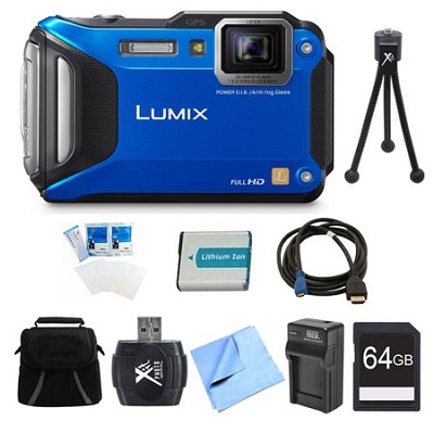 LUMIX DMC-TS6 WiFi Tough Blue Digital Camera 64GB Bundle