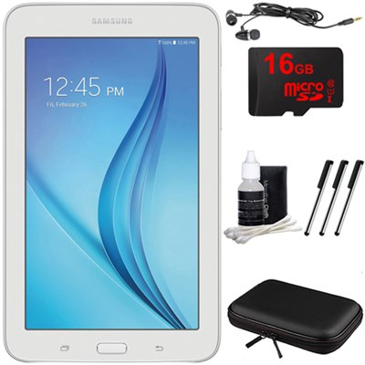Galaxy Tab E Lite 7.0` 8GB (Wi-Fi) White 16GB microSD Card Bundle