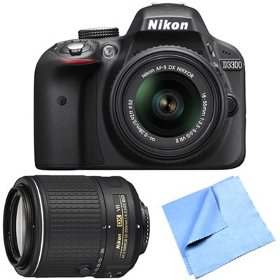 D3300 24.2MP DSLR w/ 18-55mm and 55-200mm Dual VR II Lens Bundle - Refurbished
