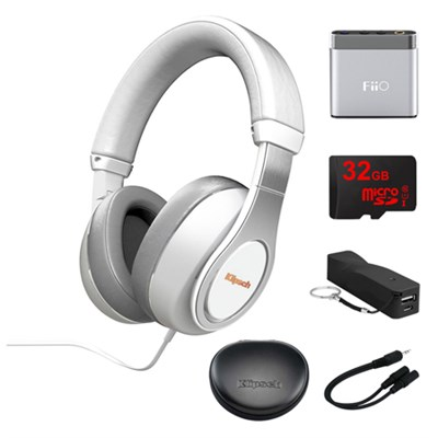 Reference Over-Ear Headphones (White) w/ FiiO Portable Amplifier Bundle