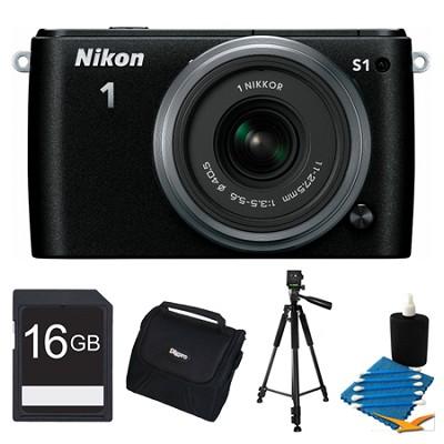 1 S1 10.1MP Black Digital Camera with 11-27.5mm Lens 16GB Bundle