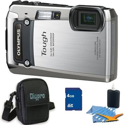 4GB Kit Tough TG-820 iHS 12MP Water/Shock/Freezeproof Digital Camera - Silver