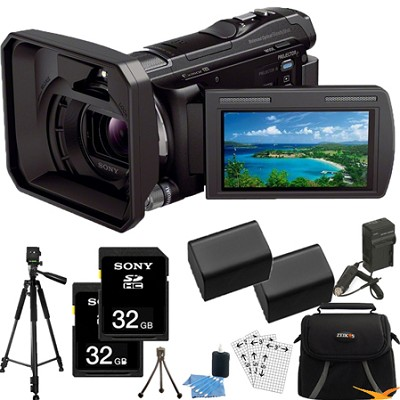 HDR-PJ650V 32GB Full HD Camcorder 20.4 MP stills w/ Projector Essentials Bundle