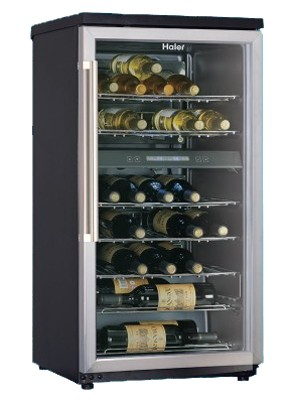 40-Bottle Wine Cellar (Black) Dual Storage Compartment and Stainless Door