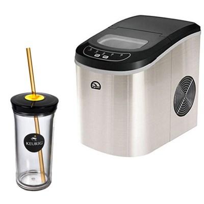 Compact Ice Maker (Stainless Steel) w/ Keurig Iced Beverage Tumbler Bundle