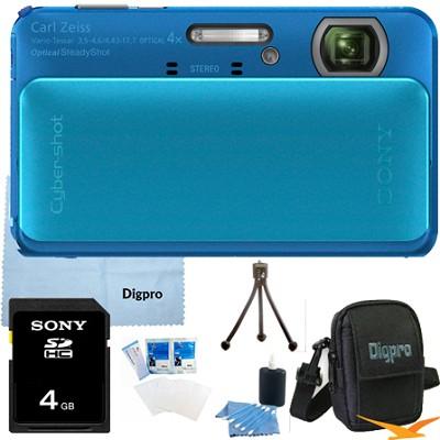 Cyber-shot DSC-TX20 16.2 MP Waterproof Shockproof (Blue) 4GB Bundle