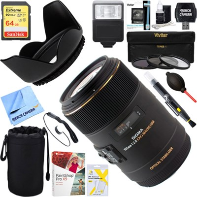105mm F2.8 EX DG OS HSM Macro Lens for Canon EOS + 64GB Ultimate Kit