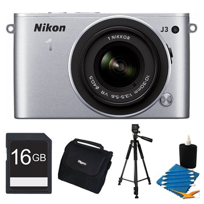 1 J3 14.2MP Silver Digital Camera with 10-30mm VR Lens 16GB Bundle