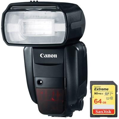 Speedlite 600EX-RT Professional Camera Flash w/ Sandisk 64GB Memory Card