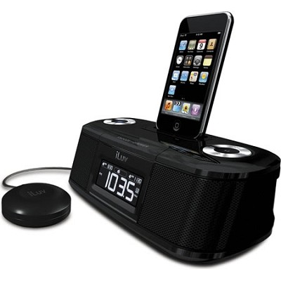 Vibe-Dual Alarm Clock W/Bed Shaker for your ipod-Black