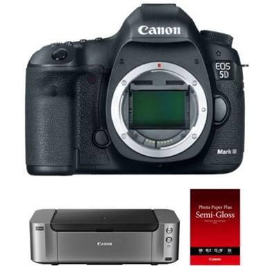 Canon EOS 5D Mark III 22.3MP HD Digital SLR Camera Body (Black) + Pro 100 Printer + 50-Pack Paper