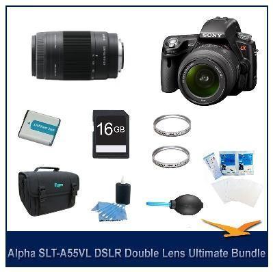 Alpha SLT-A55 DSLR Kit w/ Sony 18-55mm 75-300mm Lenses Ultimate Bundle