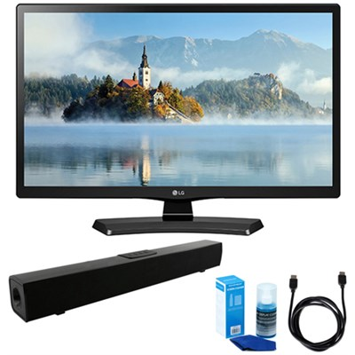 24` Class 23.6` Diag HD 720p LED TV (2017 Model) w/ Sound Bar Bundle