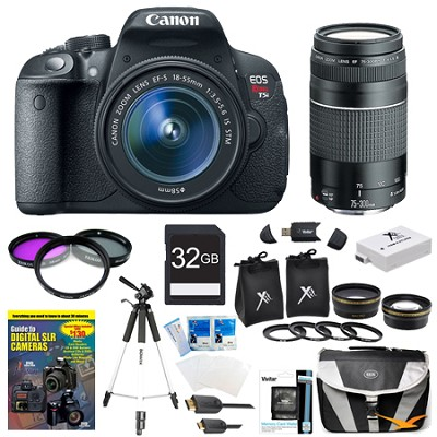 EOS Rebel T5i 18MP CMOS DSLR Camera EF-S 18-55mm & 75-300 All Inclusive Bundle
