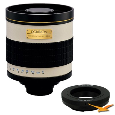 800mm F8.0 Mirror Lens for Canon EOS (White Body) - 800M + T2-EOS