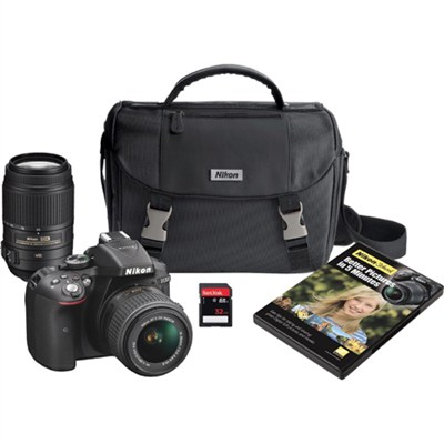 D5300 DX-Format Digital SLR Wi-Fi Camera w/ 18-55mm VR II + 55-300mm VR Lens Kit