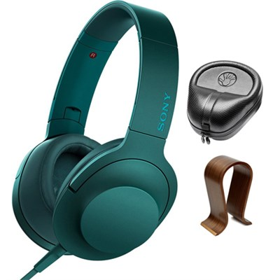 Premium Hi-Res On-Ear Stereo Headphones Blue MDR100AAP/L  with Stand Bundle