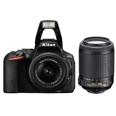 D5500 DX-format DSLR Camera w/ 18-55mm and 55-200 VR II Lenses Kit (Refurbished)