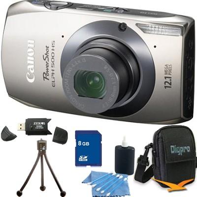 PowerShot ELPH 500 HS Silver Digital Camera 8GB Bundle