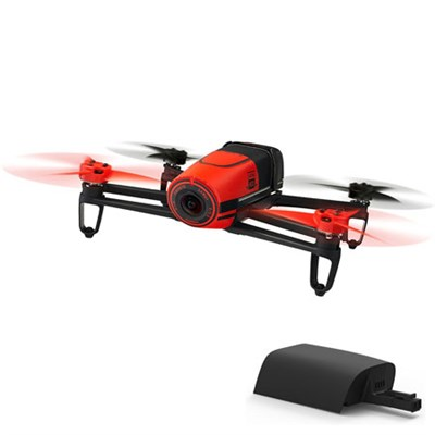 BeBop Drone 14 MP Full HD 1080p Fisheye Camera Quadcopter (Red) w/ Extra Battery