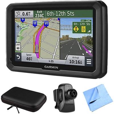 dezl 570LMT 5` Truck GPS Navigation Lifetime Map/Traffic Vent Mount/Case Bundle