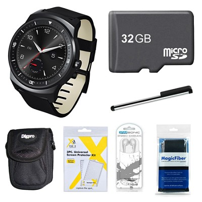 W110 G Watch R with 1.3` P-OLED Display Android 4.3 32GB Bundle