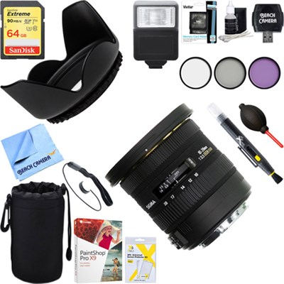 10-20mm F3.5 EX DC HSM Lens for Canon EOS + 64GB Ultimate Kit