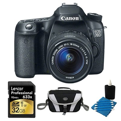 EOS 70D Digital SLR Camera and EF-S 18-55mm Lens 32GB Bundle
