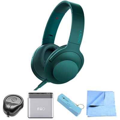 Premium Hi-Res On-Ear Stereo Headphone Blue - MDR100AAP/L w/ FiiO A1 Amp. Bundle