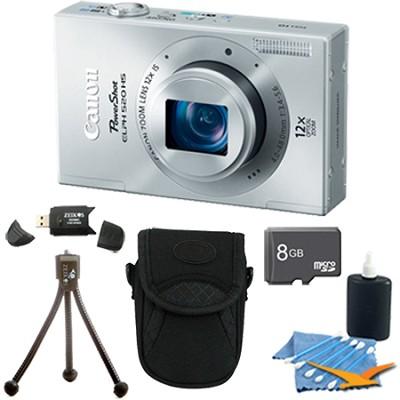 PowerShot ELPH 520 HS Silver 10.1 MP CMOS Digital Camera 12x Zoom 8 GB Bundle