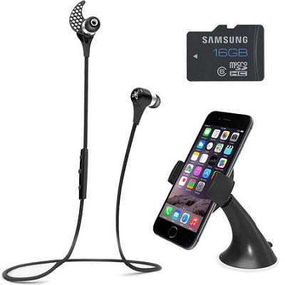 BlueBuds X Sport Bluetooth Headphones (Midnight Black) Mount & Memory Bundle