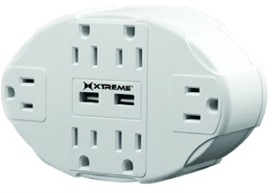 6 Outlet Wall Tap w/ 2 USB Ports - XWS8-0106-BLK (White)