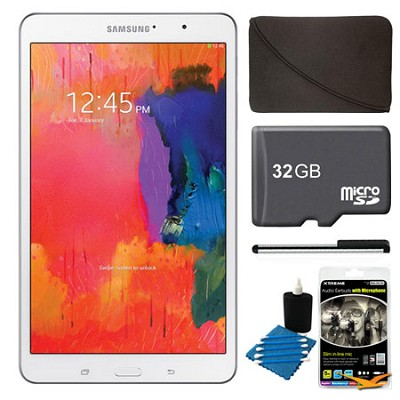 Galaxy Tab Pro 8.4` White 32GB Tablet, 32GB Card, Headphones, and Case Bundle