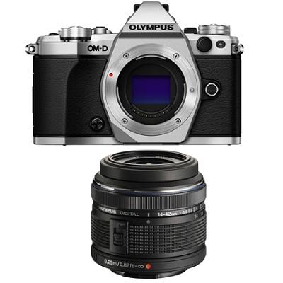 OM-D E-M5 Mark II Micro Four Thirds Silver Digital Camera 14-42mm Lens Bundle