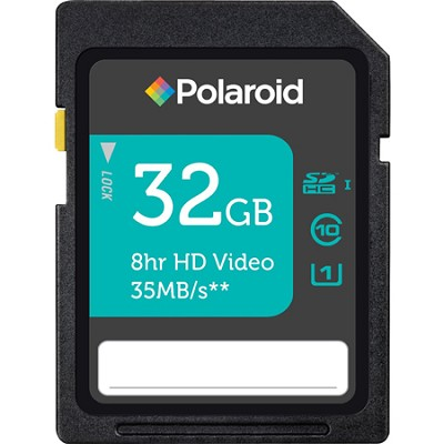 Polaroid 32GB High Speed SDHC UHS-1 35MB/sec Memory Card - Class 10